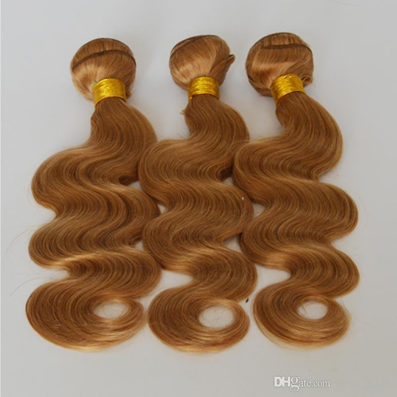 #27 Honey Blonde Brazilian Human Hair Wefts Body Wave Hair Bundles Deals 9A Top Quality Strawberry Blonde Human Hair Weaves Extensions