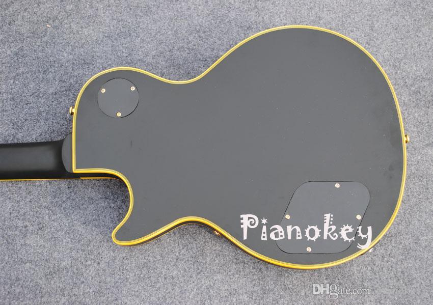 Матовый черный цвет пользовательские электрогитара, желтый переплет, черное дерево гриф, P90 пикапы гитары, бесплатная доставка
