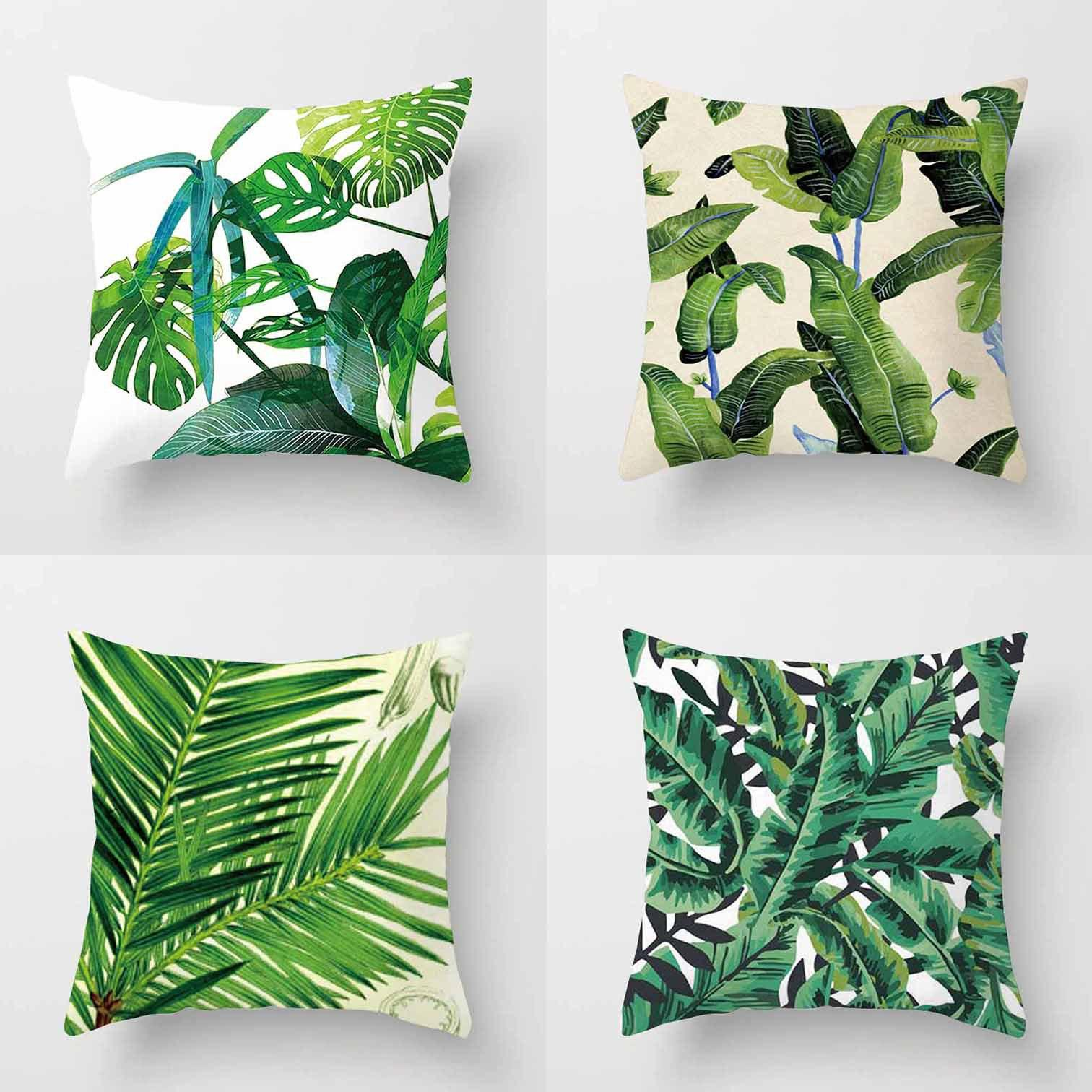 45 45cm Africa Tropical Plant Printed Cushion Cover Green Leaves