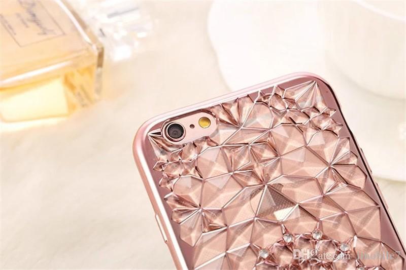 Новый роскошный 3D гальванических цветы горный хрусталь Bling мягкие TPU телефон случаях крышка для iPhone 5 5G 5S SE 6 6G 6S 4.7 6Plus
