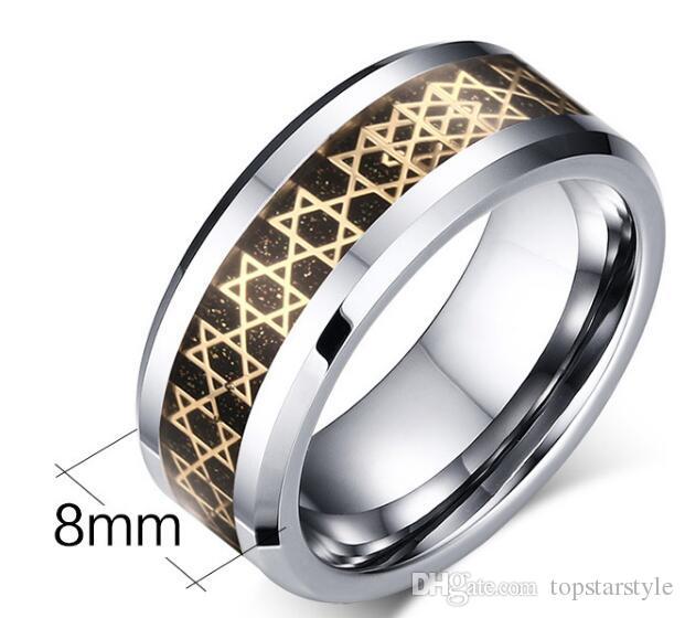 Europa vende al por mayor el símbolo de las estrellas de oro anillo de carburo de tungsteno anillo de joyería de moda para dedo estilo para hombre
