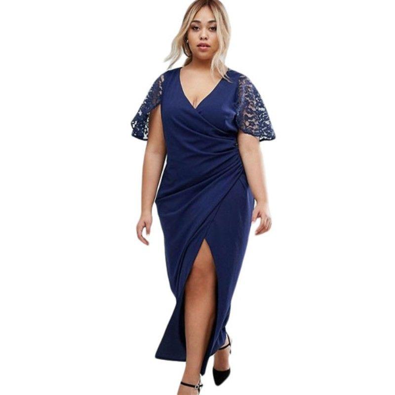 f259a315d487 Estate maxi vestito plus size abbigliamento donna 2017 wrap blu navy  anteriore manica pizzo abiti casual grandi taglie forti H61439
