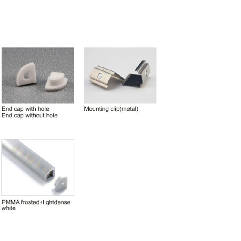 El perfil de aluminio en forma de V de 20 X 1M establece / lote para luz led y canal de ángulo impermeable para led para gabinete o cocina luz led