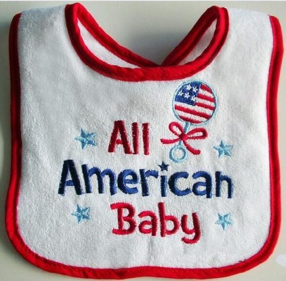Toalla de algodón babero bordado a prueba de agua del paño americano de la toalla del bebé / baberos del bebé de la toalla de la saliva del bebé y de los niños