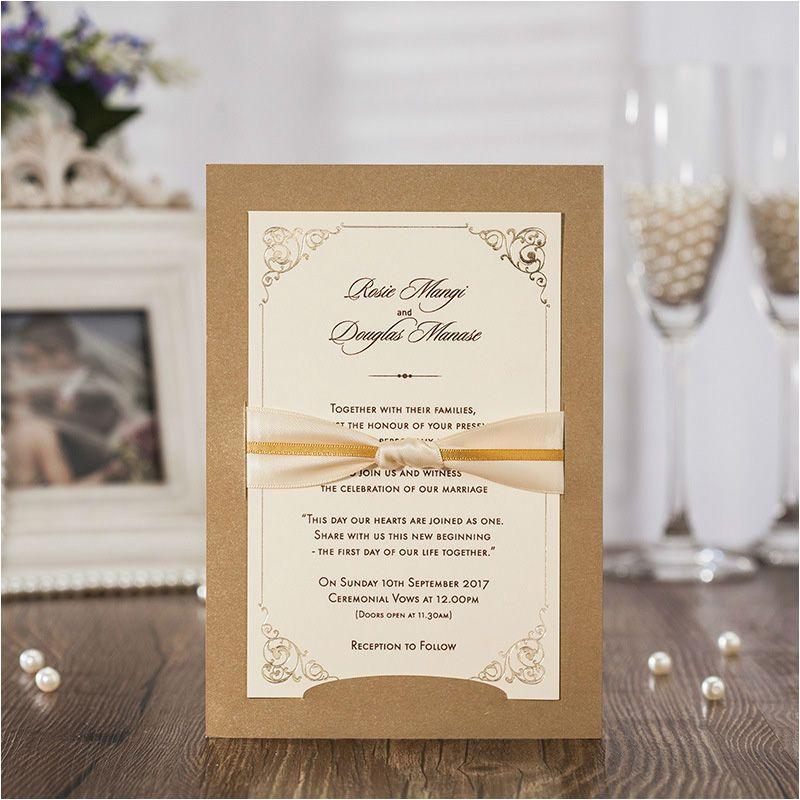 2017 New Wedding Invitations With Ribbon Bowknot Elegant Laser Cut ...