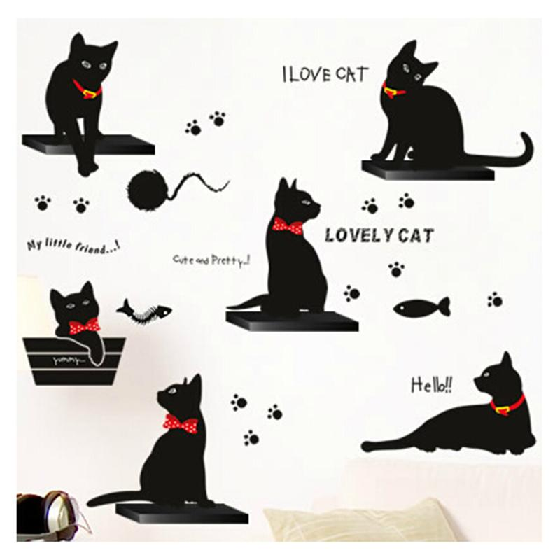 Removable Diy Cute Cartoon Black Cat Wall Decor Kids Room Wall Sticker  Lovly Playing Cat Wall Decals Peel Sticker Winnie The Pooh Wall Decals  Winnie The ... Part 73