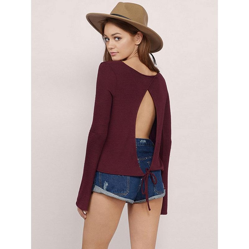New Spring Womens Blouse Top Fashion Long Sleeve Open Back Slim Shirt Tops O Neck Lady Solid Blusas Femininas Plus Size Clothing WT33127