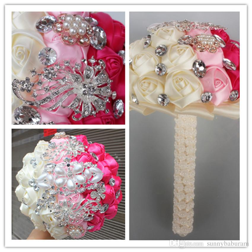 Pink Cream Fuchsia Wedding Bouquets Satin Ribbon Flower Pearls Rhinestones Crystal Sweet 15 Quinceanera WIFELAI A 19
