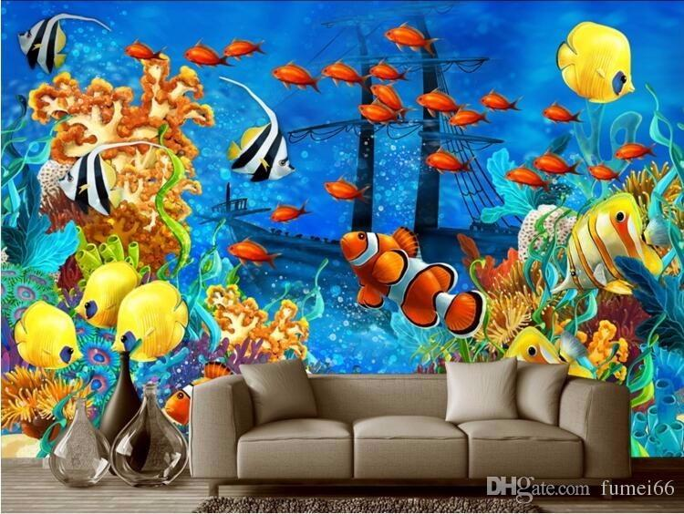 Ocean Wall Mural custom mural modern ocean world tropical fish photo 3d wall murals