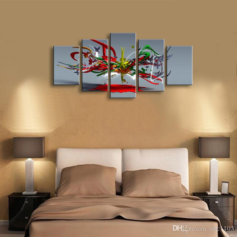 5 Panel abstrakte Malerei Leinwand Wandkunst Bild Home Decoration Wohnzimmer Leinwanddruck Moderne Malerei - Große Leinwand Kunst Günstige SD-002