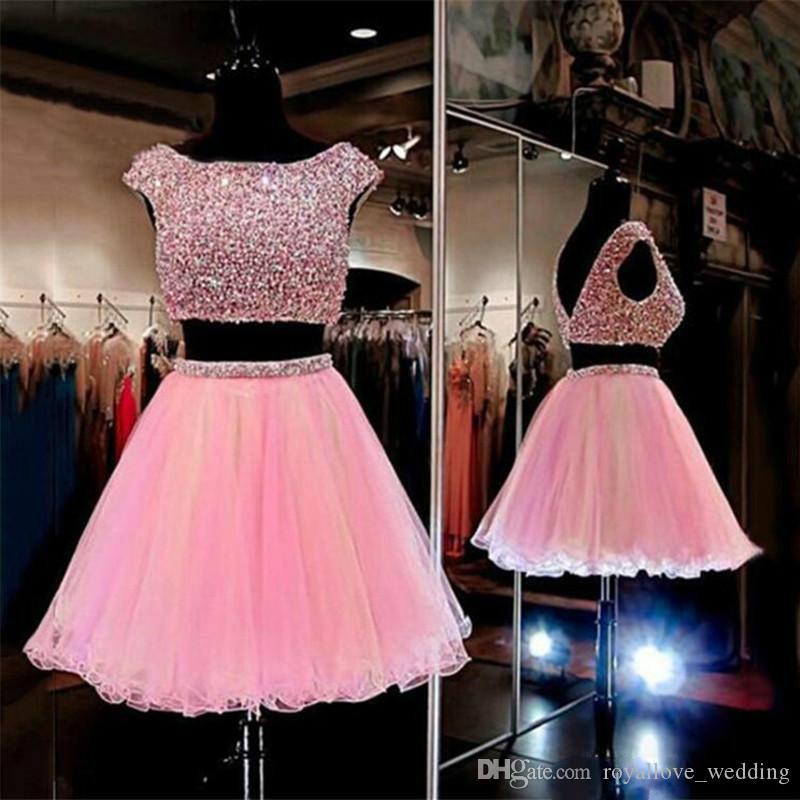 Compre Dos Piezas De Color Rosa Corto Cristales Homecoming Vestidos ...