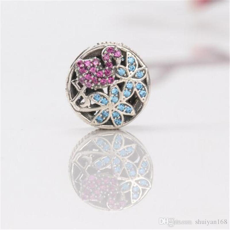 925 Sterling Silver Plated Beads Tropical Flamingo Charm Beads Fits European for DIY Jewelry Making Bracelets Necklace Silver Tone Charms