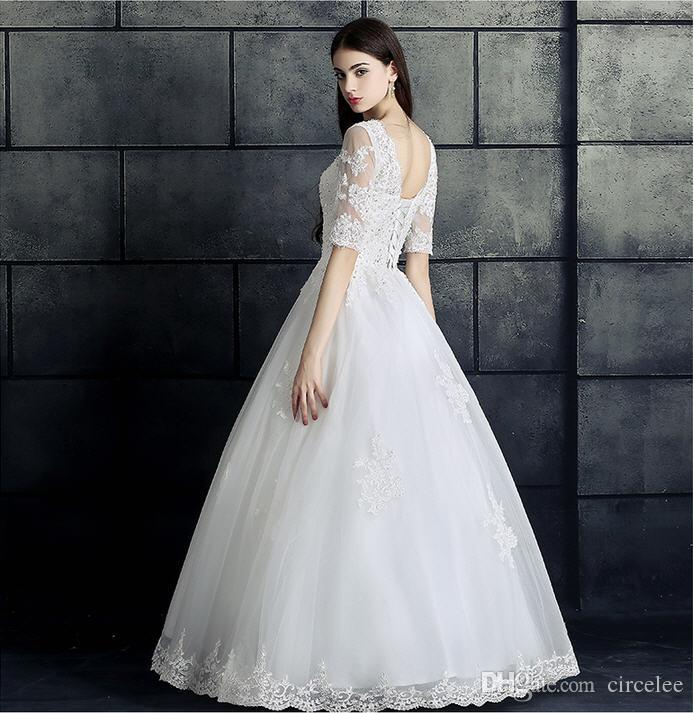 Lace Country Beach Wedding Dresses 2017 Simple White Gowns Half Sleeve Floor-Length Sequined Bridal Wear Cheap From China