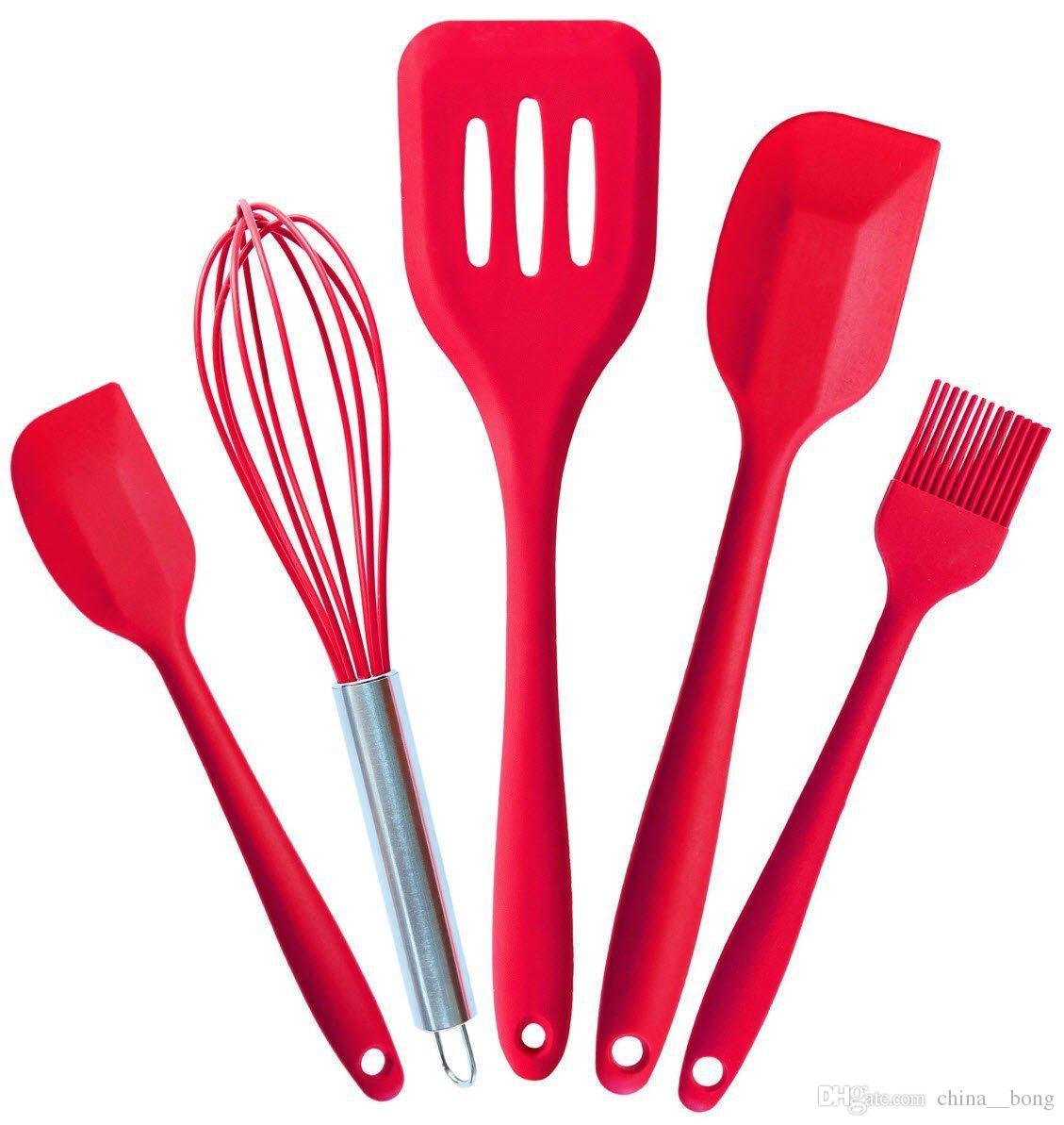 طقم أدوات المطبخ سيليكون اللون من فئة الغذاء 5 قطع من أدوات المطبخ المصنوعة من السيليكون مع مكشطة من السيليكون