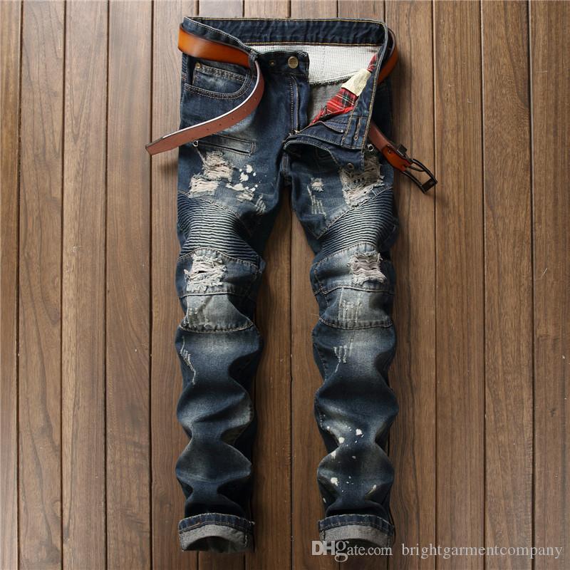 High Quality Motorcycle Pants Punk Homme Blue Print Biker Men Jeans Ripped Slim Fit Hip Hop Denim Trousers Men`s Jeans Men's Clothing