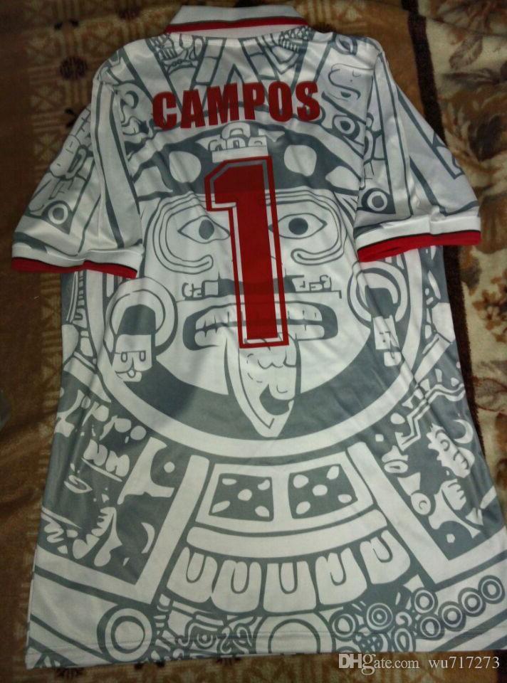 1998 멕시코 RETRO BLANCO 에르난데스 블랑코 캄포스 축구 유니폼 유니폼 홈 골키퍼 1994 축구 유니폼 셔츠 camiseta의 푸 웃 1986