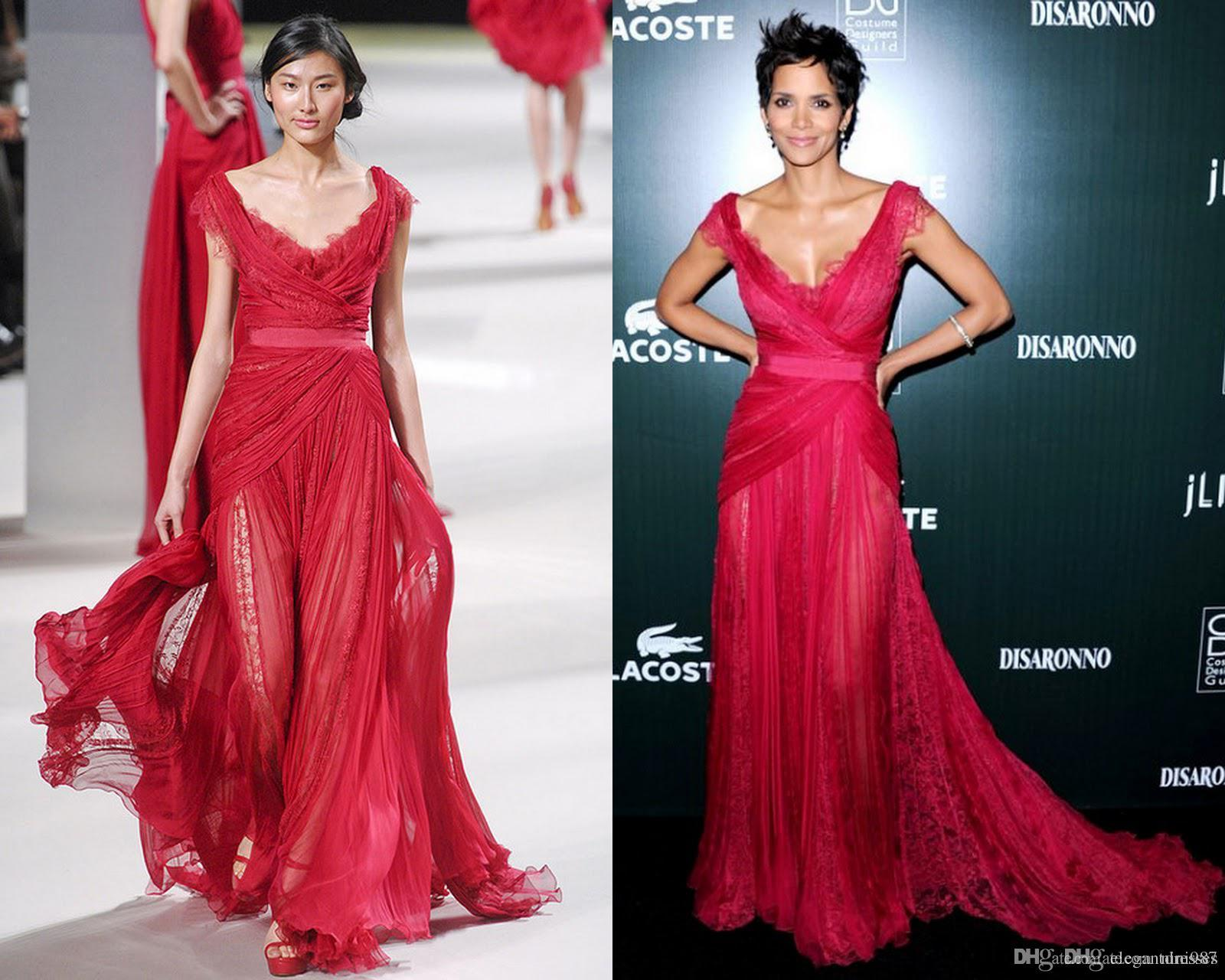 Elie Saab 2017 New Fashion Halle Berry CDGA Red Carpet Party Dresses See Through with Lace Deep V Neck Sexy Evening Pageant Celebrity Gowns