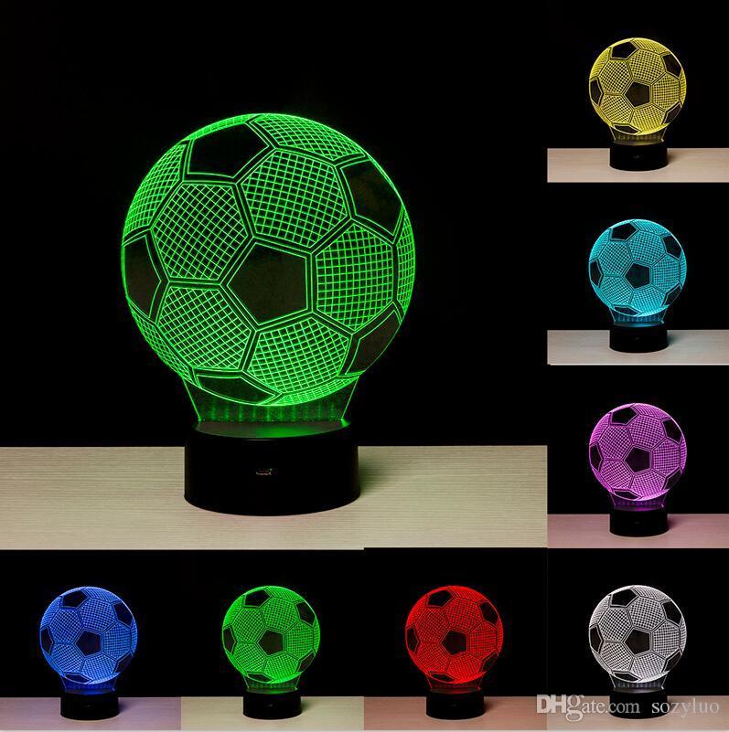Creativo balón de fútbol 3D luz fútbol colores RGB que cambian Visual Led luz de la noche Novedad lámparas de mesa Creado LED Navidad juguete infantil regalos