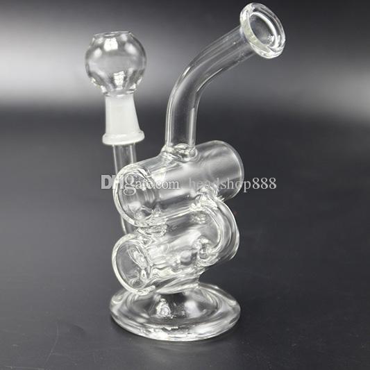 Новые 2017 Ресайклер Glass Bong Dab нефтяных вышек Пьянящий Bongs Проц водопроводные трубы Ресайклер Бонги Стеклянные барботажного Трубы для курения