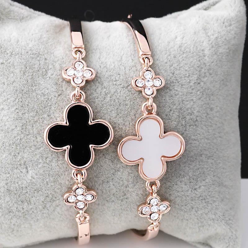 ac0fcde0e1f4 Buena suerte cristal trébol pulseras chapado en oro brazalete brazalete  pulsera para mujer regalo de joyería de moda 162298
