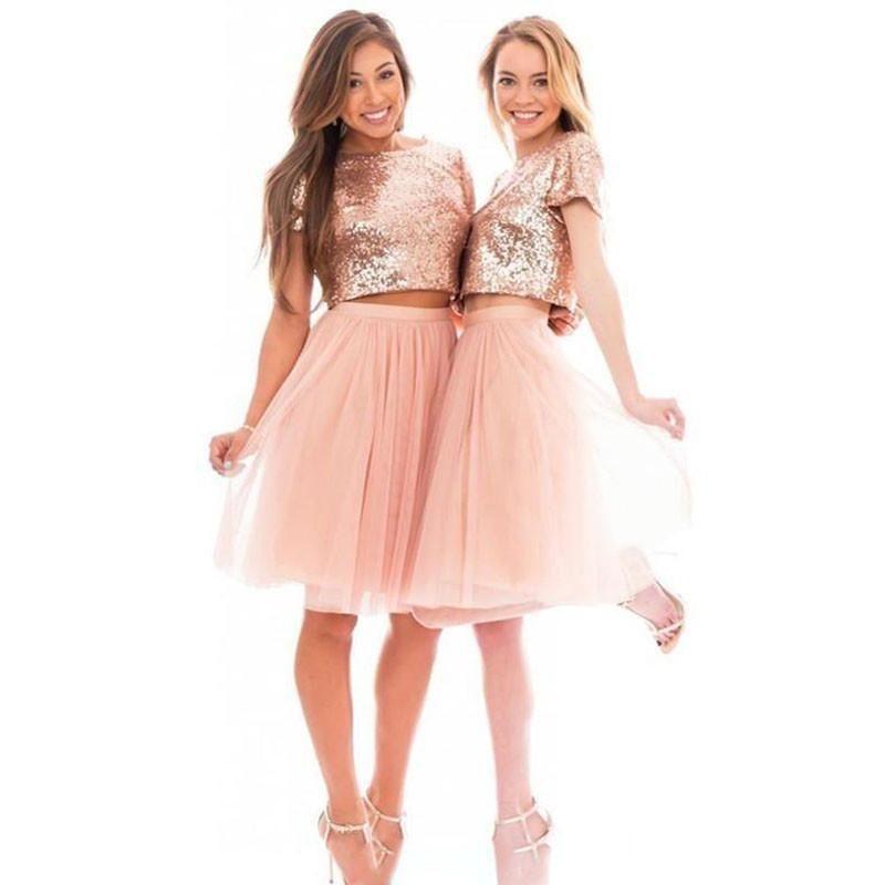 2019 Sparkly Blush Pink Rose Oro Oro Lentejuelas Dama de honor Vestidos Playa Barato Manga corta MÁS TAMAÑO JUNIOR DOS PIEZAS Vestidos de fiesta de fiesta