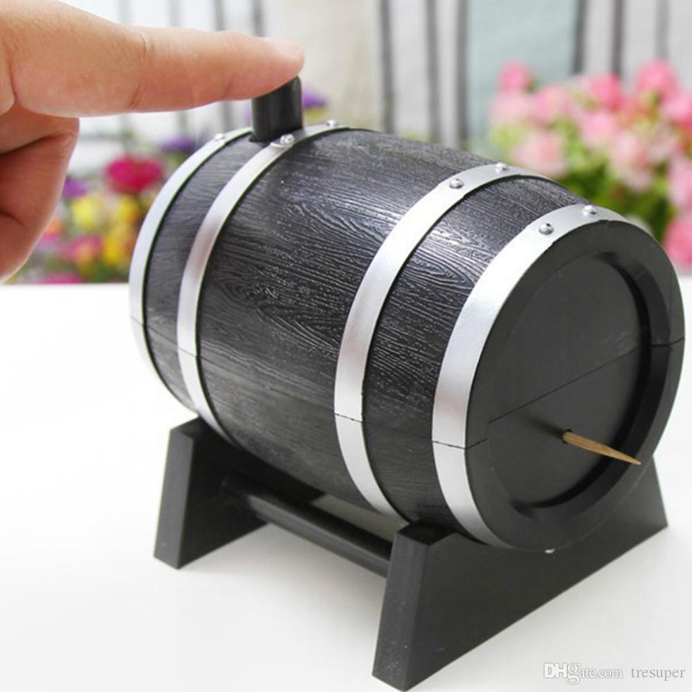 와인 배럴 플라스틱 자동 이쑤시개 상자 컨테이너 디스펜서 홀더 인기있는 새로운