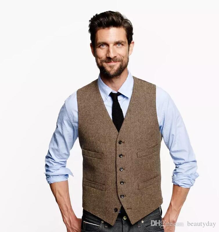 2017 Farm Wedding Vintage Brown Tweed vests Groom vest mens slim fit tailor made wedding Party vests for men Groomsman Vest Prom
