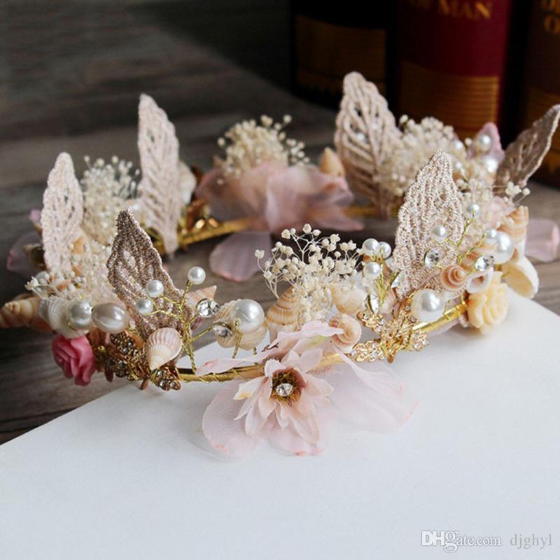 Diy amor romântico shell cabelo da videira folha de casamento pérola acessórios para o cabelo flor de luxo de cristal coroa de noiva strass rosa tiaras para a noiva