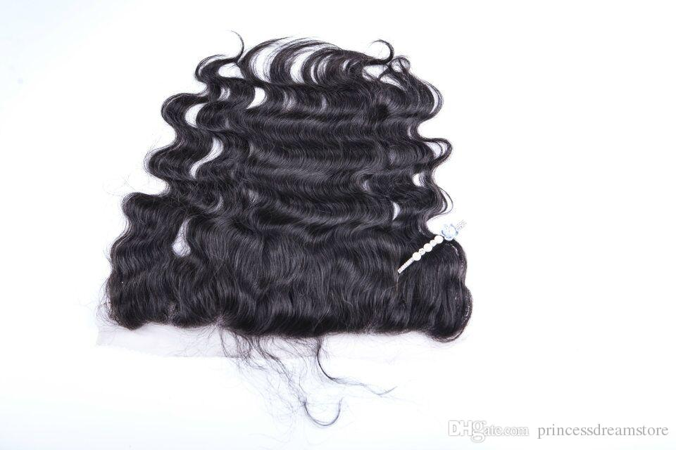 """Best Brazilian Hair Lace Frontal Closure 13x2 Bleached Knots 8-20"""" body wave Full Lace Frontal Brazilian Closure no tangle no shedding"""