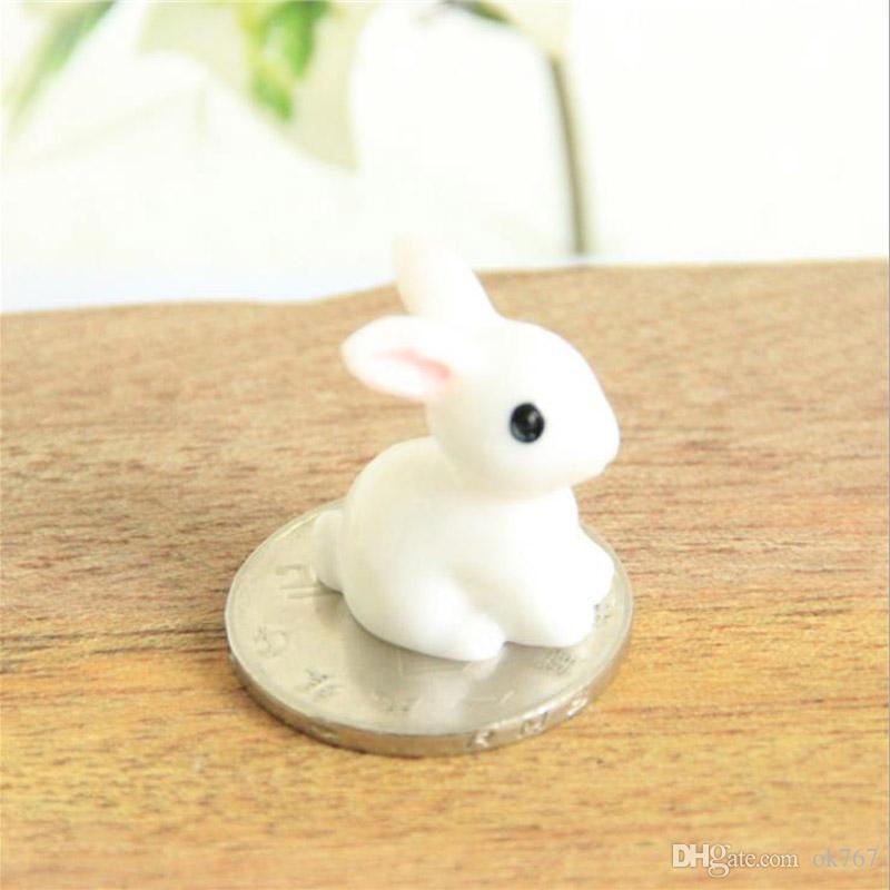 Fairy Garden Miniature lapin lapin blanc couleur artificielle mini-lapins décors de résine artisanat bonsaï décors de Pâques