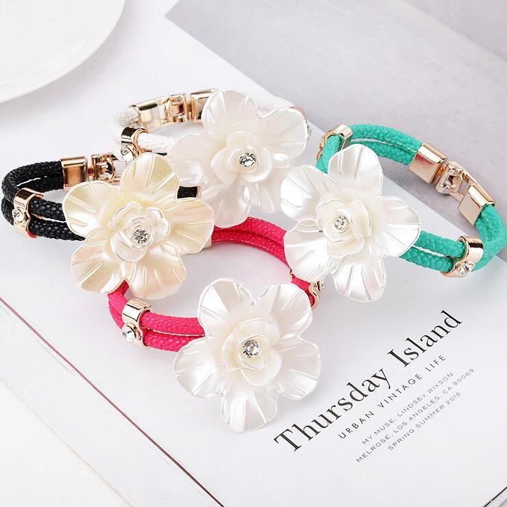 Brand new élégance à la mode en cuir corde grande fleur bracelet nouveau bracelet FB184 mix ordre 20 pièces beaucoup bracelets de charme
