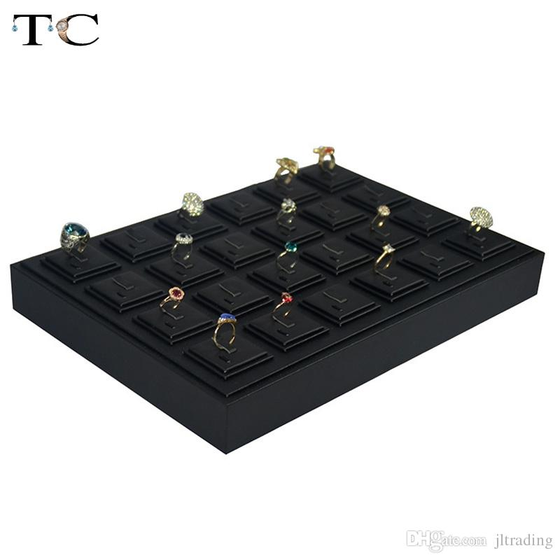 High-end Black PU Leatherette Jewelry Display Tray For Rings 35*25cm Organizer Storage Ring Holder Case Box Stand