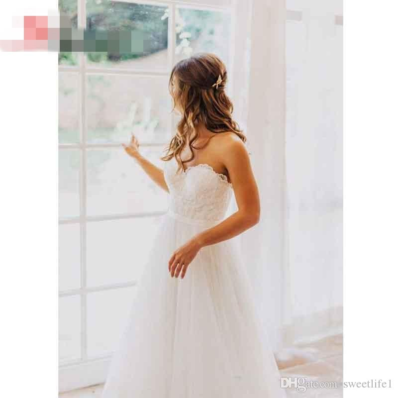 Elegant Tulle Beach Wedding Dresses 2016 Sweetheart Lace A line Simple Cheap Bridal Gowns Country Wedding Dress