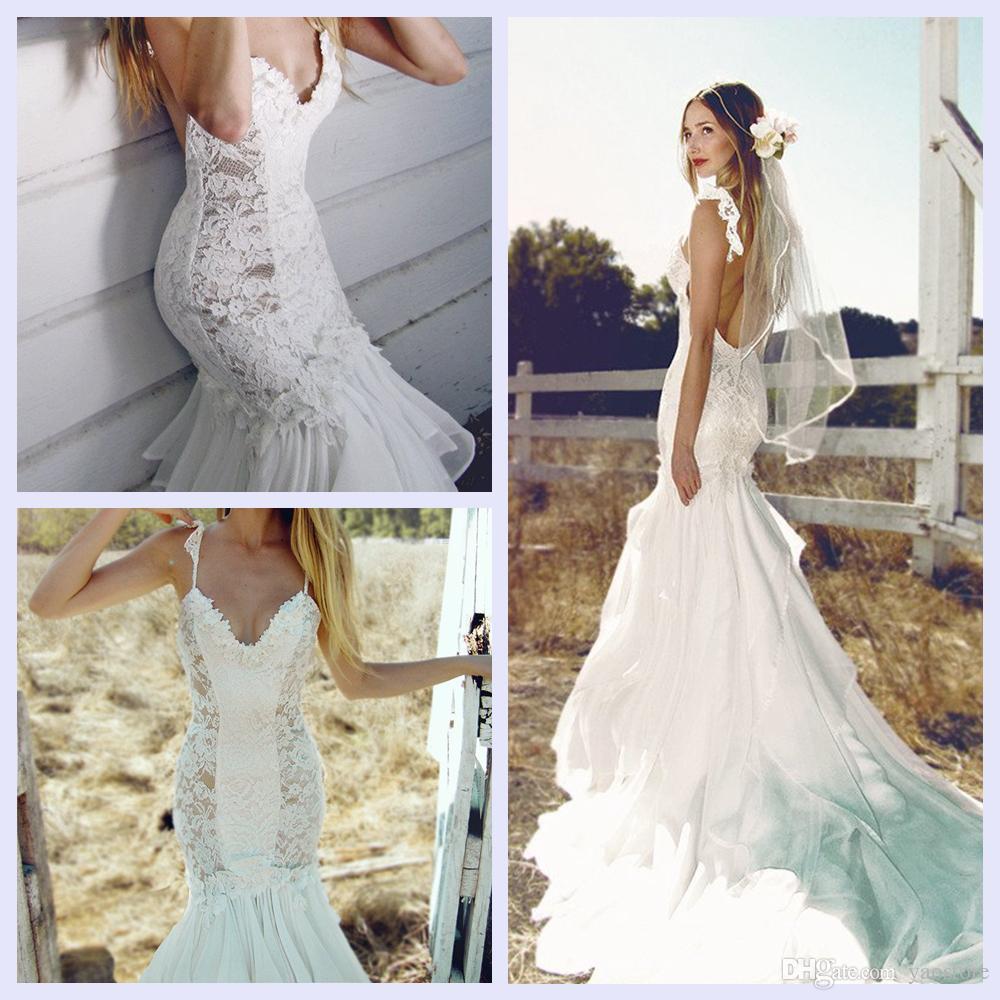 Dramatic Princess Mermaid Lace Wedding Dresses 2017 Illusion ...
