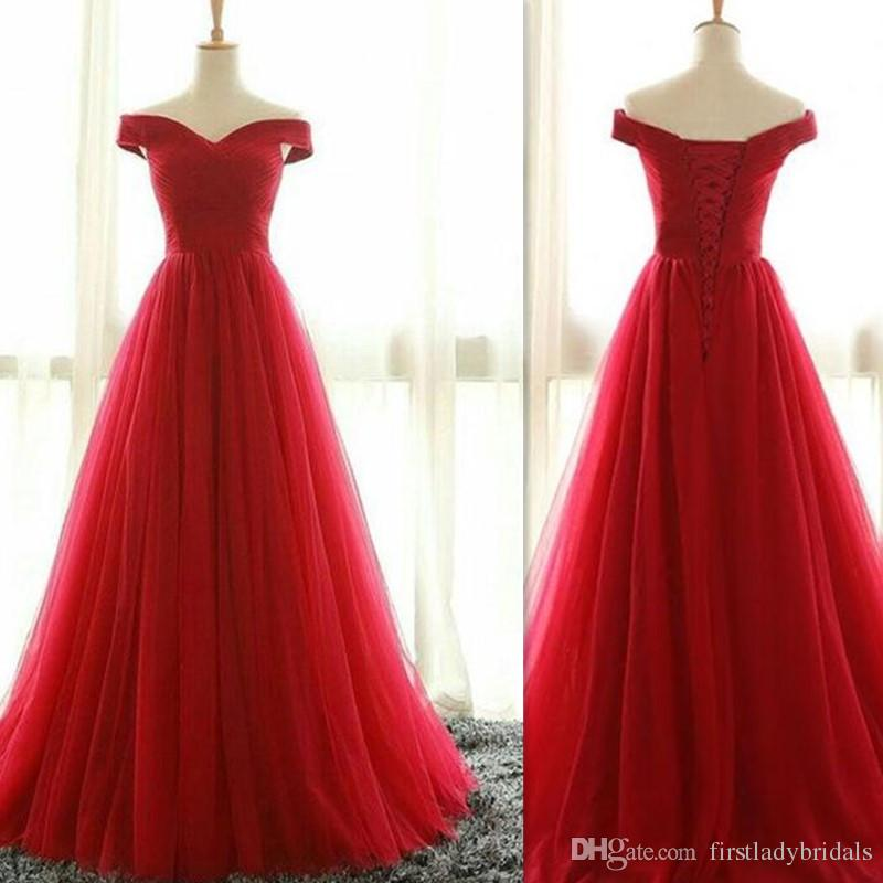 2017 Red Tulle Off Shoulder Evening Party Dresses A Line Real Photo ...