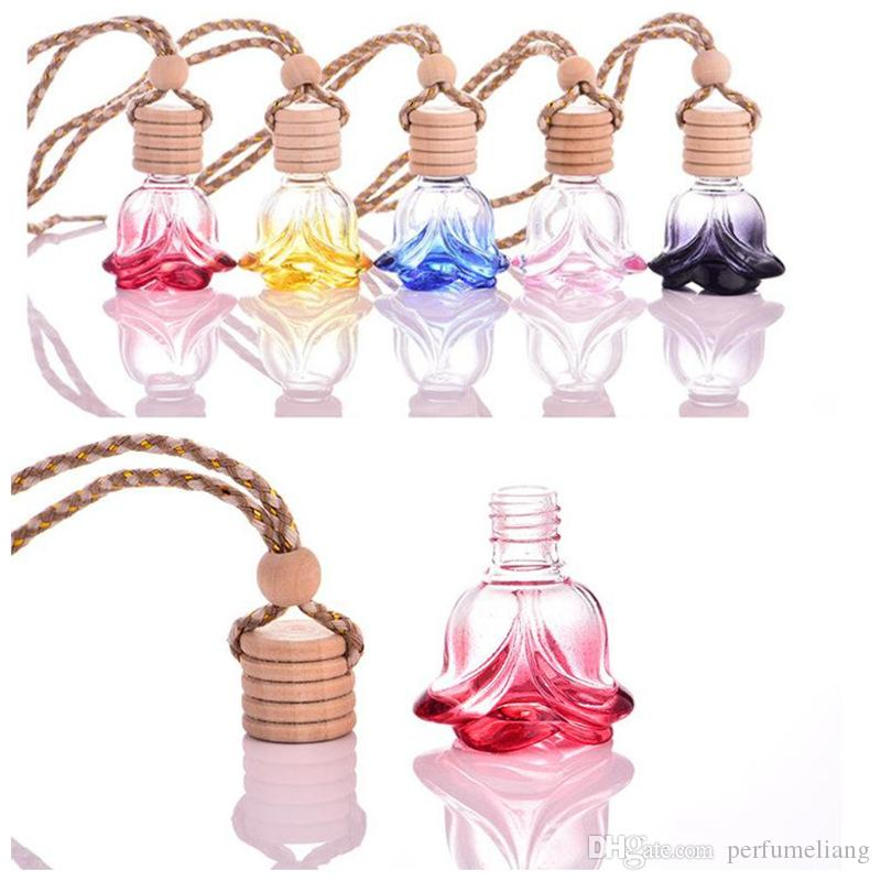 colorful 6ML crystal shape hanging car perfume glass bottle hanging decoration bottle car hanging accessories perfume bottle JF-076