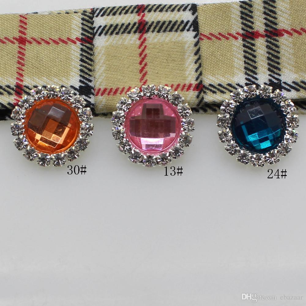 16mm Round Silver Metal Rhinestone Button With Acrylic Center Wedding Hair Embellishments DIY Accessory Decor