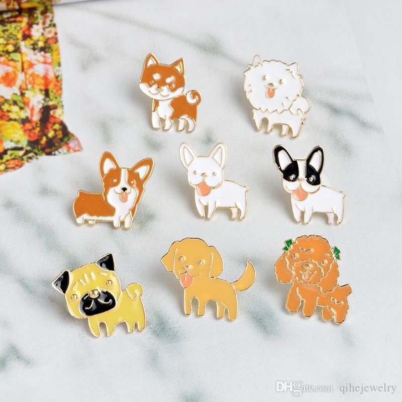 Kaniş Pomeranian Corgi Bulldogs Köpek Broşlar Sert Emaye Pin Yaka Pin Rozeti Hediye Köpek Severler Için