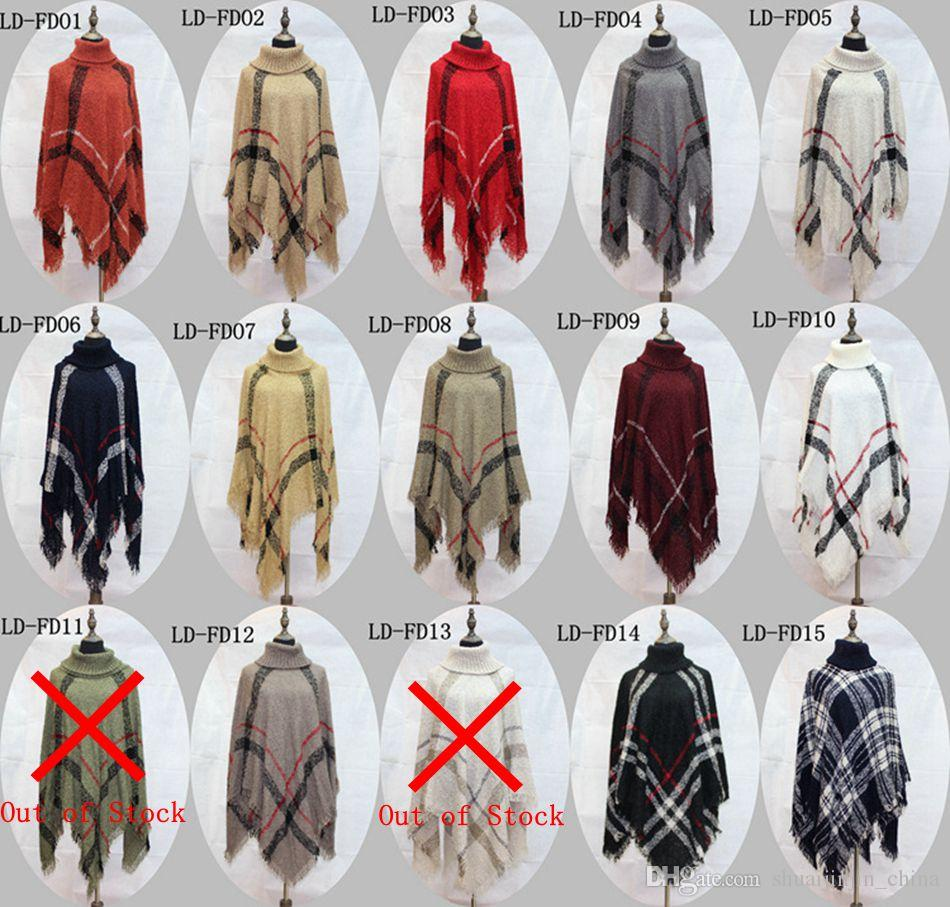 Plaid Poncho Women Tassel Blouse Knitted Coat Sweater Vintage Wraps Knit Scarves Tartan Winter Cape Grid Shawl Cardigan Cloak OOA2903