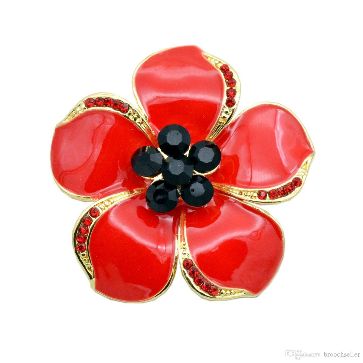 Tono Oro Rojo Rhinestone amapola Broche Pin