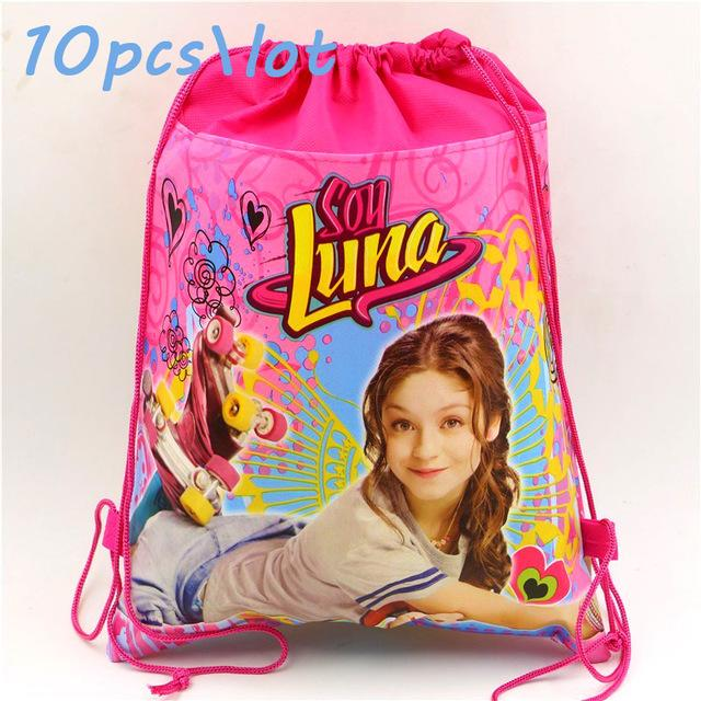 Wholesale 10pcslot Soy Luna Drawstring Bags Kids Favors Non Woven Fabric Gifts Bag Baby Shower Happy Birthday Party Decoration Supplies