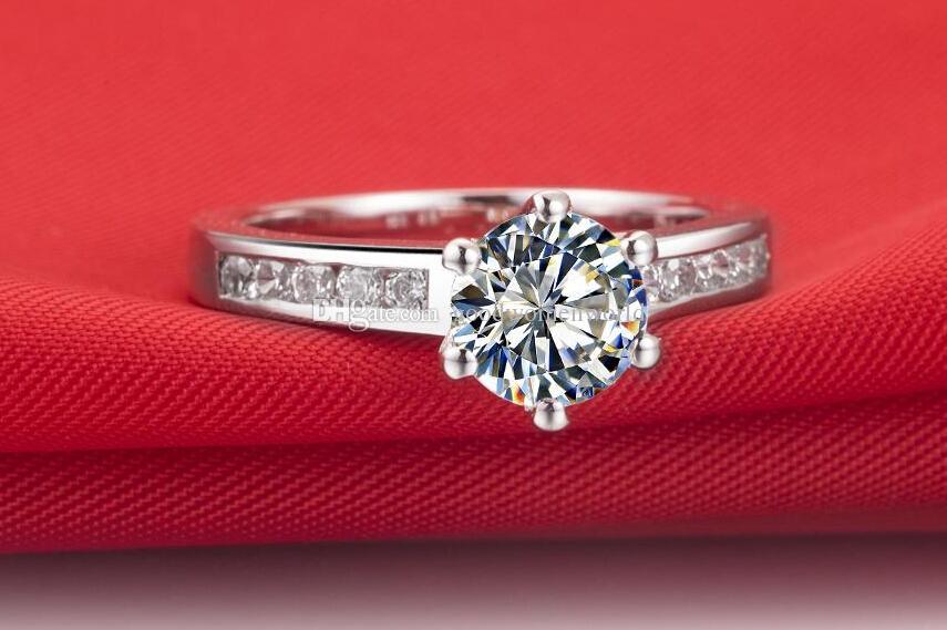 Envío gratis rápido 1 CT SONA estrella de diamante sintético plata de ley 925 anillo de bodas 18 K oro blanco plateado anillo al por mayor para mujeres regalo