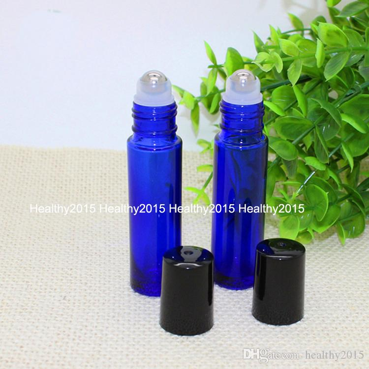 Factory Price 10ml Blue Glass Roll on Bottles With Metal Ball for Essential Oil Aromatherapy Perfumes and Lip Balms Glass Roller Bottles