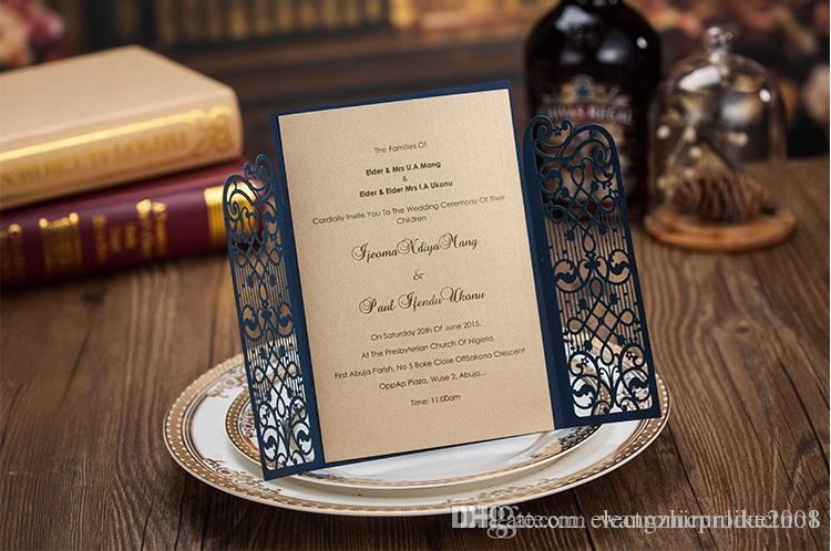 Cheap Dark Royal Blue Laser Cut Wedding Invitations Cards Hollow