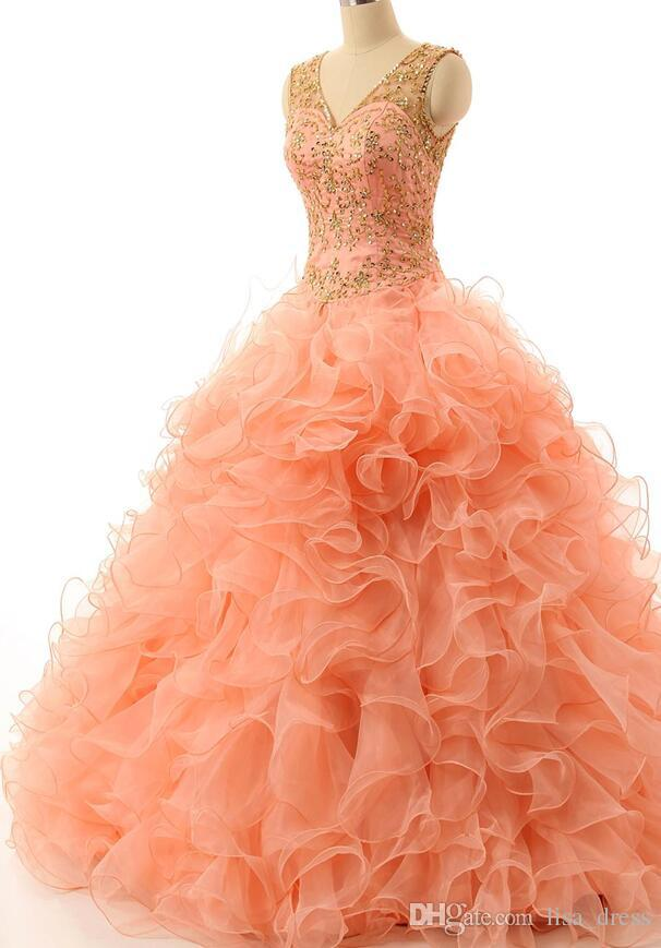 .2017 Nuevo vestido de bola Coral Quinceanera Dress para Sweet 16 Adultos Vestidos Girls 15 Years Ruffles Party Vestidos De 15 Anos