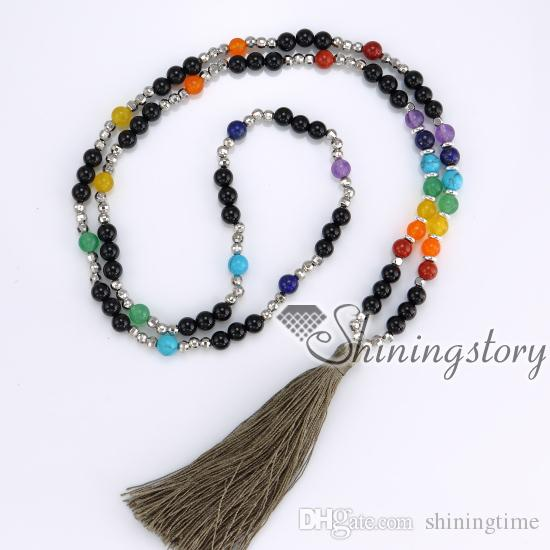 7 chakra necklace chakra healing jewelry meditation beads buddhist tibetan prayer bead tassel necklace wholesale yoga jewelry