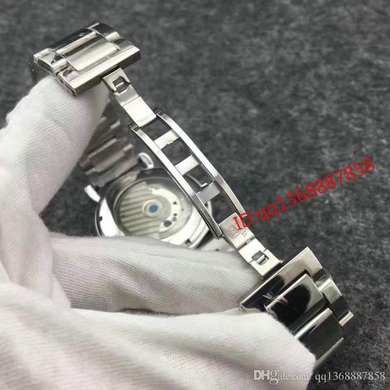 2017 New Top hot sale Luxury automatic Brand Men watches stainless steel tourbillon Black dial Mechanical Sport mens watch