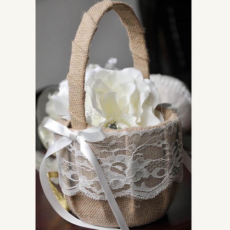 Cesto di fiori di nozze retrò tela di iuta tela cesto di fiori la decorazione di nozze cestino di immagazzinaggio cesto appeso