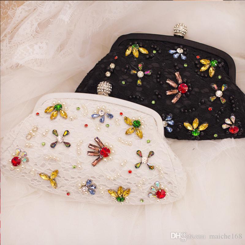 Новая леди кружева цветок жемчужина сумка холдинг ужин сумка диагональ невесты сумка