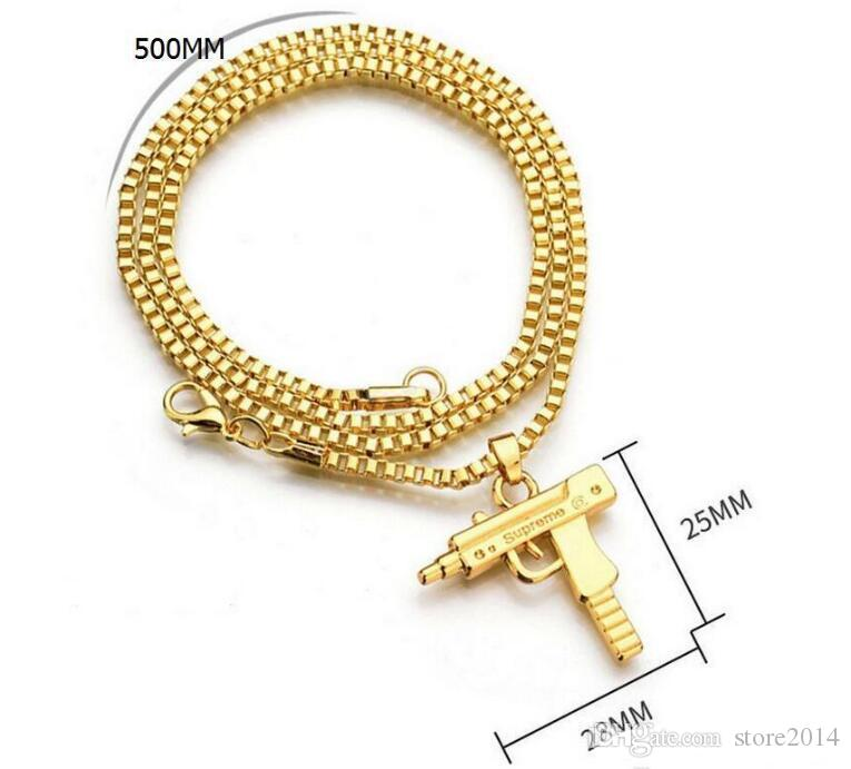 New Uzi Gold Chain Hip Hop Collana lunga ciondolo Uomo Donna Fashion Brand Gun Shape Pistol Pendant Maxi Collana HIPHOP Jewelry